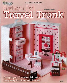 Fashion Doll Travel trunk Plastic Canvas by grammysyarngarden, $18.00