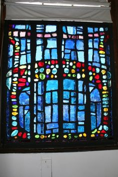 "Dalle-de-verre glass window created for exhibit at D'Art Center, Norfolk, Va, Feb.-April 2000. <br>Now on display in McGuffey Art Center. Assembled in four panels. 51""w x 57""h x 1"" 200lbs <br> *available for sale. Contact the artist."