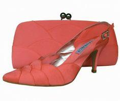 Selina Coral Satin Ladies Sling Back Shoe  | #eveningShoes #WeddingShoes #Heels
