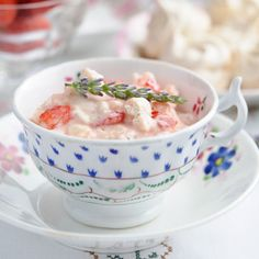 Strawberry and Lavender Eton Mess. Doesn't get much better than that!