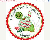 ON SALE Christmas In July SALE - Holiday Mixing Bowls Personalized Stickers - Address Labels, Baked Goods Stickers, Kitchen - Choice of Siz. $5.00, via Etsy.