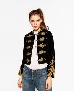 Image 2 of VELVET TOGGLE JACKET from Zara Chaqueta Militar Mujer 6b3156100d29