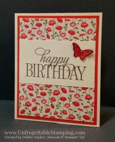 Unfrogettable Stamping   Fabulous Friday tunnel card featuring the Pretty Petals DSP stack, Happy Birthday Everyone, You've Got This and Papillon Potpourri stamp sets and coordinating butterfly punches from Stampin' Up!
