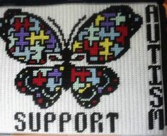 awareness butterfly Plastic Canvas Pattern 3.00