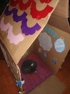 A casa de papelão. Depois de a filhota ter enfeitado tudo com muito gosto a casa de papelão tem novo habitante... ihihih :)