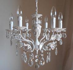 lampadario cristalli : lampadario vintage bianco shabby chic con cristalli, 6 bracci on Etsy ...