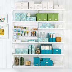 Available exclusively at The Container Store, shop our bestselling Elfa shelving solutions. Shop the site, design online, or meet with a design expert in-store today! Elfa Shelving, Office Shelving, Storage Shelves, Wall Shelves, Shop Shelving, Custom Shelving, Shelving Systems, Toy Storage, Ideas