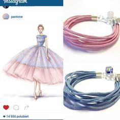 Glamorous twine bracelets. Rose Quartz & Serenity. Pantone colors of year 2016.