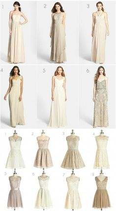 Such a stunning selection of both long and short neutral bridesmaid dresses! The short ones are super affordable from ModCloth.