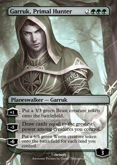 Garruk, Primal Hunter by on DeviantArt Mystic Games, Mtg Planeswalkers, Mtg Altered Art, Beast Creature, Mtg Art, Magic The Gathering Cards, Alternative Art, Great Power, Magic Cards