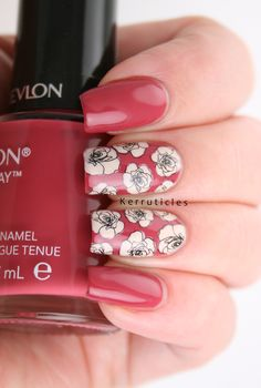 Pink and cream roses, using Moyra Florality 1 stamping plate, using the reverse stamping method and featuring Revlon Vintage Rose.