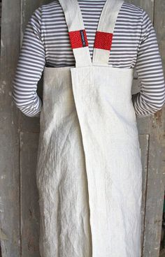 Natural Linen and Ticking - french shopkeeper's apron: