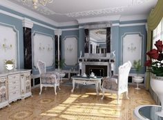 interior design room styles the rococo style living room with fireplace Interior Styling, Interior Design, Design Room, Diy Home, Home Decor, Layout, Rococo Style, House Windows, Home Furnishings