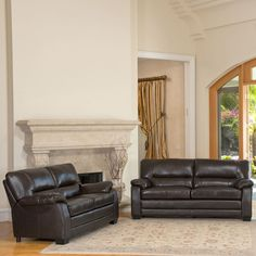 Abbyson Brentwood Brown Leather Loveseat and Sofa Set - CI-1307-BRN-3/2