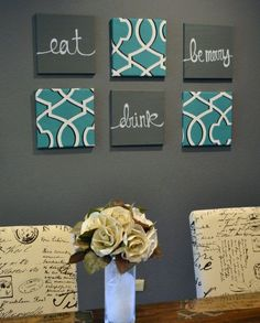 Eat Drink & Be Merry Wall Art Pack of 6 Canvas Wall Hangings Painting 6 Canvas Set Dining Room Decor Modern Teal Charcoal Gray Gallery Wall