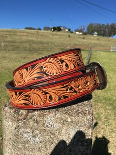 Mens floral belt made by DustyCowgirl Leather Like us on Facebook