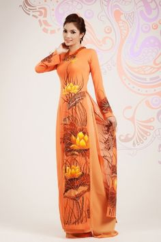You loved orange? We've got one for you, a pure design with nice details gonna make you happy :) / LOTUS LONG DRESS - HS010 - http://aodaihoanguyen.com/ao-dai/ao-dai-sen-viet/chi-tiet/85-ao-dai-sen-viet-hs010#.UIZoYYZKY80
