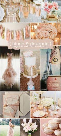 Decoração de Casamento : Paleta de Cores Blush e Dourado   http://blogdamariafernanda.com/decoracao-de-casamento-blush-e-dourado