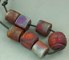 Raku Bead and Focal Set by elementspottery on Etsy, $15.00