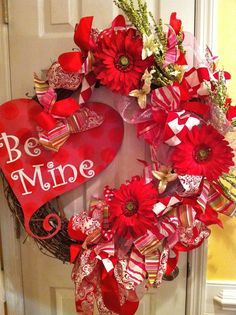 """Valentine's Day Wreath for Door. """"Be Mine"""" in a cute heart (Valentine Day) by HDSIM Valentine Day Wreaths, Valentines Day Decorations, Valentine Day Crafts, Holiday Wreaths, Happy Valentines Day, Holiday Crafts, Holiday Fun, Christmas Decorations, Thanksgiving Holiday"""