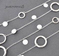 silver long necklace simple necklace everyday by JewelMango