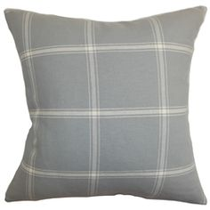 """Clean and minimalist, this accent pillow is the easiest way to style your home. This decor pillow looks great when placed on top of the sofa, bed or couch. The square pillow features a plaid pattern in white and set against a gray background. This 18"""" pillow looks great when paired with solids and other patterns like stripes and geometric. This decor piece lends comfort and visual dimension with its 100% cotton-made fabric. $55.00   #plaid #plaidpillow #pillows #tosspillow"""