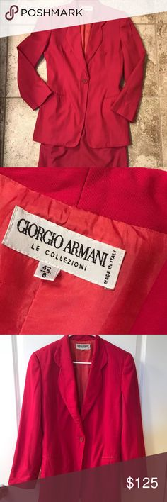 """‼️50% OFF SALE‼️ GIORGIO ARMANI Pink Skirt Suit A Women's Giorgio Armani Le Collezioni pink wool blend skirt suit.  This designer suit features a jacket with cloverleaf lapels, a single button closure, welt pockets, and a pink fabric lining.  Also included, a matching tulip skirt with pleated accents, a button and zipper closure, and a pink fabric lining.   Jacket Size: 8 Bust: 32"""" Shoulders: 16"""" Sleeve: 23"""" Waist: 16"""" Sweep: 22""""  Skirt Size: 8 Length: 21"""" Waist: 13.5"""" Hips: 17"""" Sweep: 18.5""""…"""