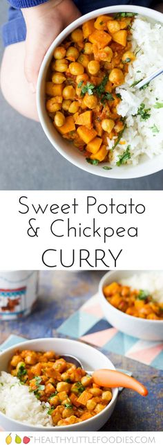 sweet potato and chickpea curry, for kids. Sweet potato adds a hint of sweetness which works great with the spices. A quick and tasty meal for the whole family. #kidsfood #familymeals #curry via @hlittlefoodies
