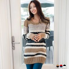 OrangeBear Multi-Stripe Sweater Dress | YESSTYLE