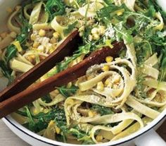 Creamy Fettuccine With Leeks, Corn, and Arugula. I use ff half and half instead of cream to make it healthy