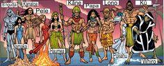 Gods of Hawaii: B'ngudja - Tiger Shark God. Namaka - The sea goddess & a water spirit. Kanaloa - God of the Underworld and a teacher of magic. Pele - Goddess of volcanoes. Haumea - Goddess of fertility. Kane - The god of procreation and was the leading god of the great gods. Papa - Creator goddess. Lono - God of fertility, agriculture, rainfall, music and also peace. Poliahu - The ice goddess. Ku - The god of war and the husband of the goddess Hina. Whiro - The lord of darkness.