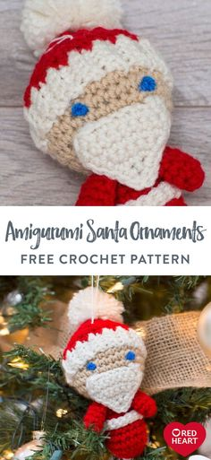 Amigurumi Santa Ornaments free crochet pattern in Red Heart Super Saver yarn. Perfect for having your tree be a reflection of your love of crochet, this little Santa is fun to make and will add to your Christmas traditions. Use him throughout your house or as a package tie-on. Easy Crochet Patterns, Free Crochet, Super Saver, Santa Ornaments, Soft Blankets, Christmas Traditions, Christmas Time, Free Pattern, Reflection
