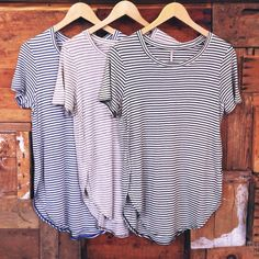 The perfect striped tee. Super soft with a shirttail hem.