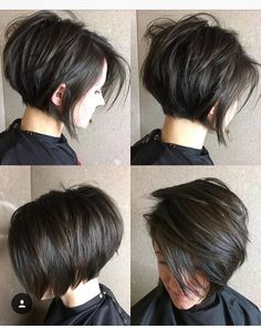 Short Layered Brunette Bob bob haircuts with layers thick hair 70 Cute and Easy-To-Style Short Layered Hairstyles Pixie Bob Haircut, Short Bob Haircuts, Hairstyles Haircuts, Pretty Hairstyles, Layered Hairstyles, Stacked Haircuts, Short Dark Hairstyles, Medium Hairstyles, Wedding Hairstyles