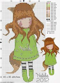 Gorjuss x-stitch - bambooceee Modern Cross Stitch, Cross Stitch Charts, Cross Stitch Designs, Cross Stitch Patterns, Cross Stitching, Cross Stitch Embroidery, Stitch Doll, Cartoon Kids, Pixel Art