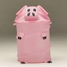 "Pig Laundry Hamper, I'm so buying this for all my kids!!! ""Feed the piggy your laundry!"" Why not make laundry fun?!!!"
