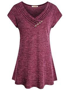 Mofavor Womens Cowl Neck Tunics Short Sleeve Swing Blouse Top Flowy Shirt
