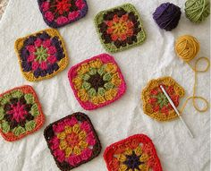 crocheted granny squares.
