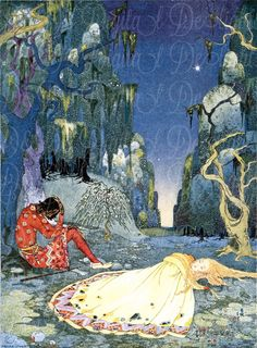 Virginia Frances Sterret, Violette consented willingly to pass the night in the forest Illustration from Old French Fairy Tales retold by Comtesse de Ségur, 1920 Art And Illustration, Fairy Tale Illustrations, Botanical Illustration, Illustration Children, French Fairy Tales, Tableaux Vivants, Edmund Dulac, Fairytale Art, Inspiration Art