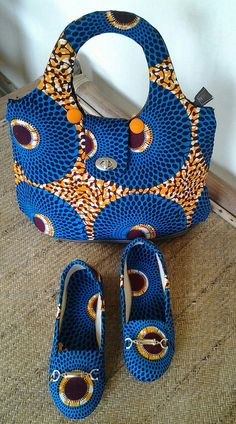 African Print Shoes and Bag. African Fabric by EJAfricanProducts