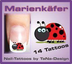 Nail-Art-Nail-Sticker-Nail-Tattoo-Marienkaefer-Sommer-14-Stueck-NEU