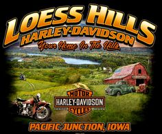 Loess Hills Harley-Davidson® is a Harley-Davidson® dealer of new and pre-owned motorcycles in Pacific Junction, Iowa. Harley Davidson Night Rod, Harley Davidson Posters, Harley Davidson Merchandise, Harley Davidson T Shirts, Harley Davidson Motorcycles, Motorcycle Logo, Motorcycle Garage, Steve Harley, Harley Dealer