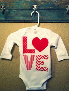 Valentine's Day LOVE Applique Onsie by DarlingLittleThreads