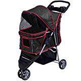 Pet Stroller Cat Dog 3 Wheels Stroller Travel Folding Easy Walk Carrier Black