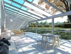 glass sliding roof with guillotine windows Glass Ceiling, Glass Roof, Design Interiors, Interior Design, Roofing Systems, Curved Glass, Backyard, Patio, Skylights