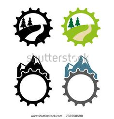 A set of mountain bike icons