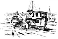 Broken Fishing Boat At Dock Coloring Pages : Kids Play Color Music Drawings, Fish Drawings, Pencil Drawings, Vladimir Nabokov, Boat Sketch, Boat Drawing, Online Coloring, Coloring Pages For Kids, Coloring Books