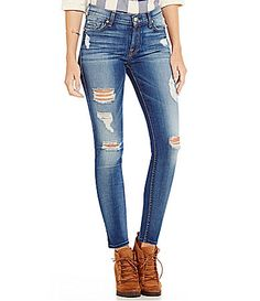 7 for All Mankind Distressed Ankle Skinny Jeans #Dillards