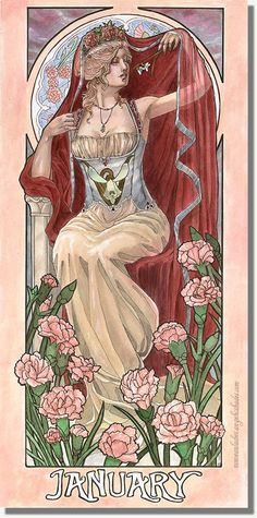 Items similar to Art Print Lady of January with Snowdrops & Carnations with Veil Art Nouveau Birthstone Goddesses Series Mucha Inspired Painting on Etsy Alphonse Mucha, Images Victoriennes, Art Nouveau Mucha, Art Amour, Illustration Art Nouveau, Art Vintage, Pink Carnations, Birth Flowers, Arte Pop