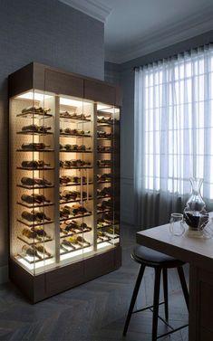 Glass Wine Cellar, Home Wine Cellars, Wine Cellar Design, Bedroom Design Inspiration, Wine Display, Cigar Room, Wine Wall, Wine Cabinets, Wine Fridge